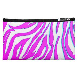 Candy Pink Zebra Stripes Medium Cosmetic Bag