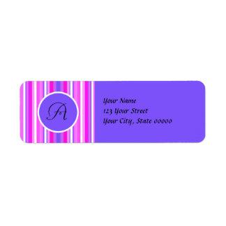 Candy Purple Stripes - Monogram Address Labels