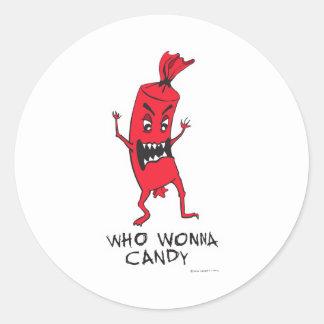 CANDY RED ROUND STICKER