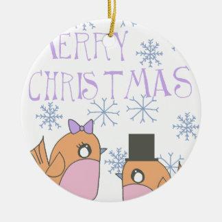 Candy robins ceramic ornament