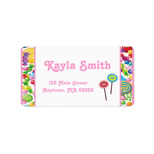 Candy Shop Pink Girl Address Labels