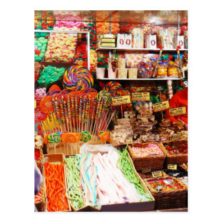 Candy stall postcard
