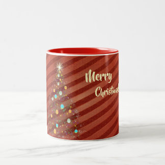 Candy strip Christmas tree Two-Tone Coffee Mug