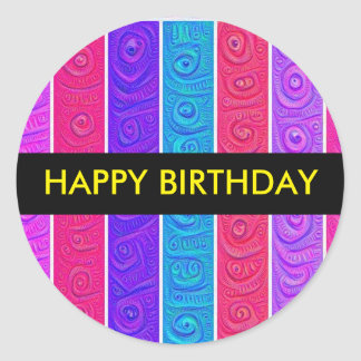 Candy Stripe Birthday Sticker
