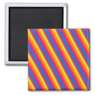 Candy Stripe Bright Rainbow Square Magnet