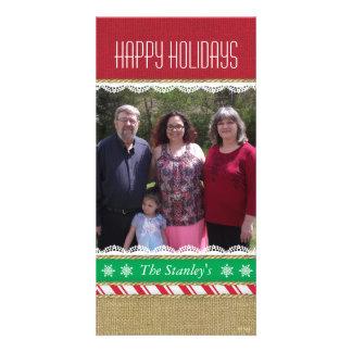 Candy Stripe Burlap Lace Custom Photo Card