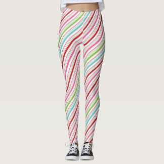 Candy Stripe Merry and Bright Leggings