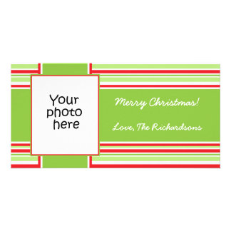Candy Stripe Photo Christmas card 4x8 Photo Greeting Card