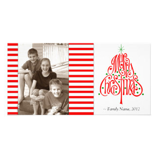 Candy Stripe Photo Christmas Card Photo Card Template