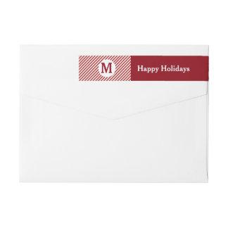 Candy Stripe Red Holiday Return Address Labels Wraparound Return Address Label