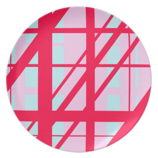 Candy Stripe Red Pink Blue Cute Summer Pattern Dinner Plates