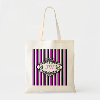 Candy stripe vintage monogram tote bag