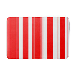 Candy striped bathroom rug in cardinal red