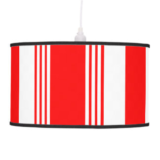 Candy striped pendant lamp in cardinal red