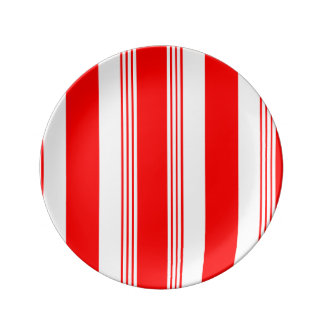 Candy striped porcelain plate - SM white striped