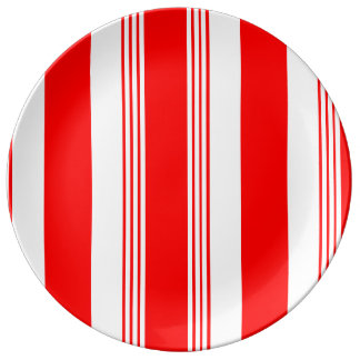 Candy striped porcelain plate - white striped