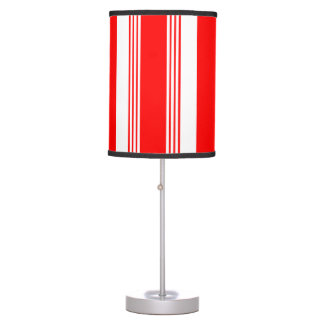 Candy striped portible lamp in cardinal red