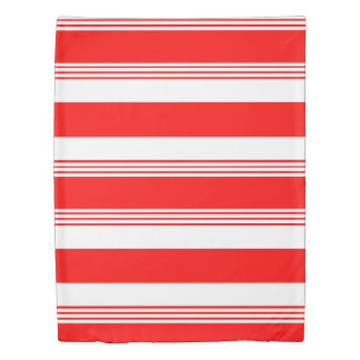 Candy striped reversible duvet cover- cardinal red duvet cover