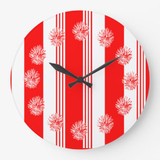 Candy striped round clock in cardinal red