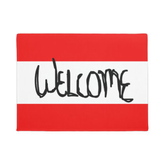 Candy striper collection welcome mat Cardiinal Red