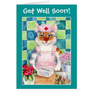 Candy striper nurse cat wishes Get Well Soon! Card