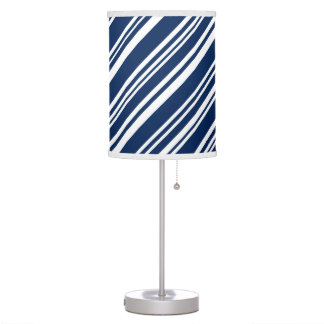 Candy Stripes, Blueberry and White Table Lamps