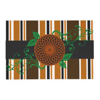 Candy Stripes & flower orange Laminated Place Mat
