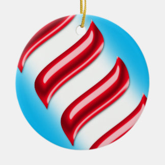 Candy Stripes on a Light Blue Background Ceramic Ornament