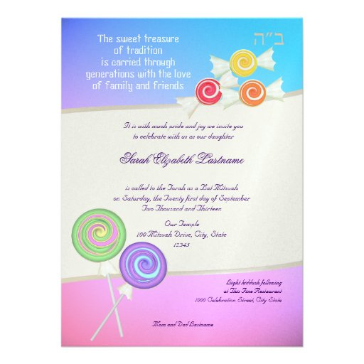 Candy Sweet Bat Mitzvah Blue Raspberry Personalized Announcements