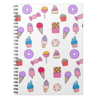 Candy, sweets and cake notebooks