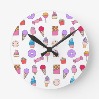 Candy, sweets and cake round clock