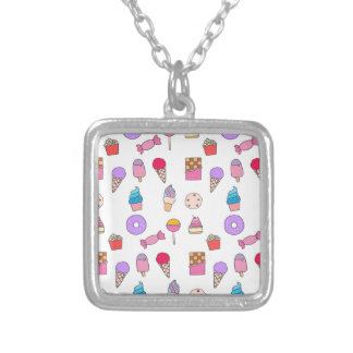 Candy, sweets and cake silver plated necklace