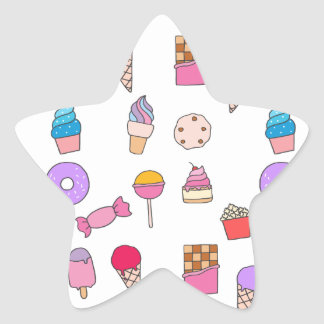 Candy, sweets and cake star sticker