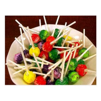 Candy sweets lollipop sucker snack treat yummy postcard