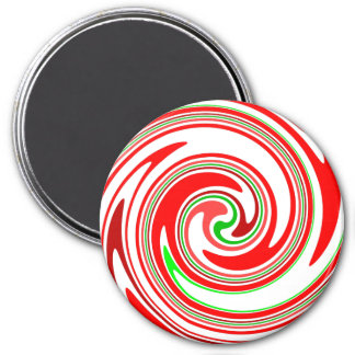 Candy Swirl Red White Green Cheerful Christmas 3 Inch Round Magnet