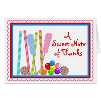 Candy  Thank you Notecards Card