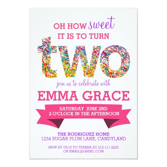 Candy Theme 2nd Birthday Party Sprinkles Invite