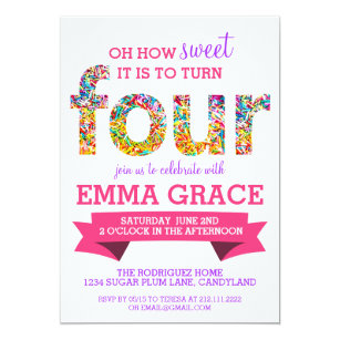 Candy Theme 4th Birthday Party Sprinkles Invite