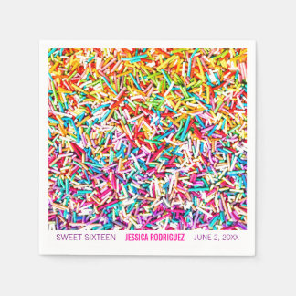 Candy Theme Party Napkin Sprinkles Sweet 16 Paper Napkins