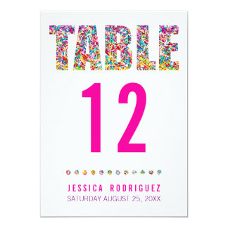 Candy Theme TABLE NUMBER CARD