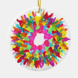 Candy Waters Autism Artist Round Ceramic Ornament