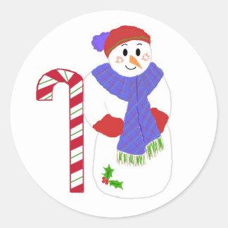Candycane and  Jolly Snowman Round Sticker