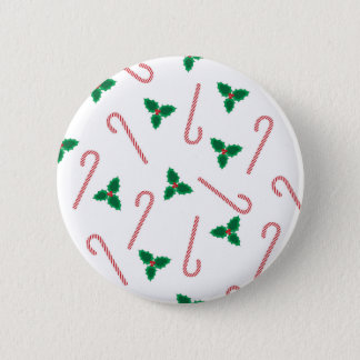 Candycane and mistletoe 2 inch round button