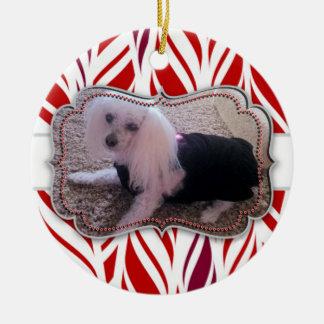 Candycane Custom Pet Photo Memorial Round Ceramic Ornament