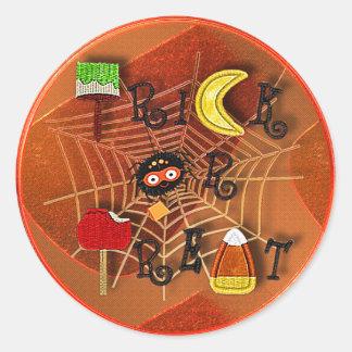 candycorn trick or treat round sticker