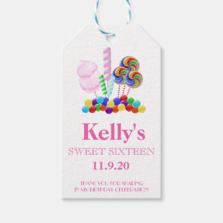 Candyland Candy Theme Sweet 16 Favor | Gift Tags