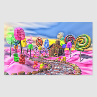 Candyland rose stickers en rectangle