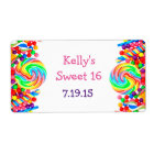 Candyland Theme Sweet 16 Custom Favour Label