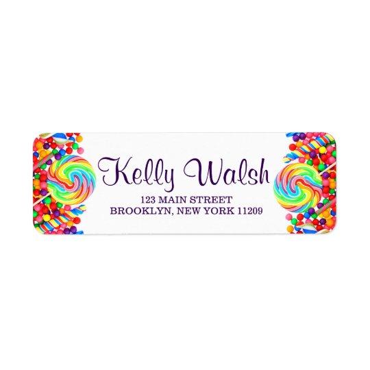 Candyland Theme Sweet 16 Return Address Labels