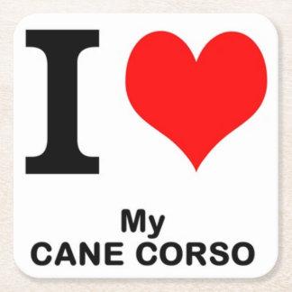 cane corso love square paper coaster